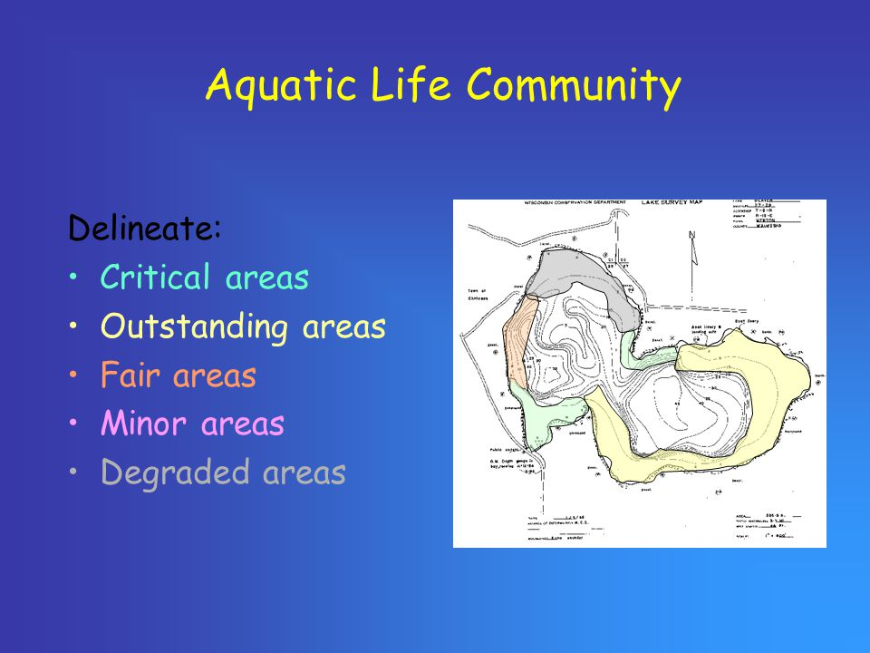 Aquatic Life Community Delineate: Critical areas Outstanding areas Fair areas Minor areas Degraded areas
