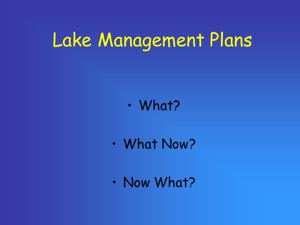 Lake Management Plans What? What Now? Now What?