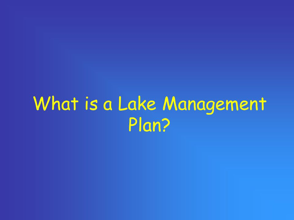 What is a Lake Management Plan?