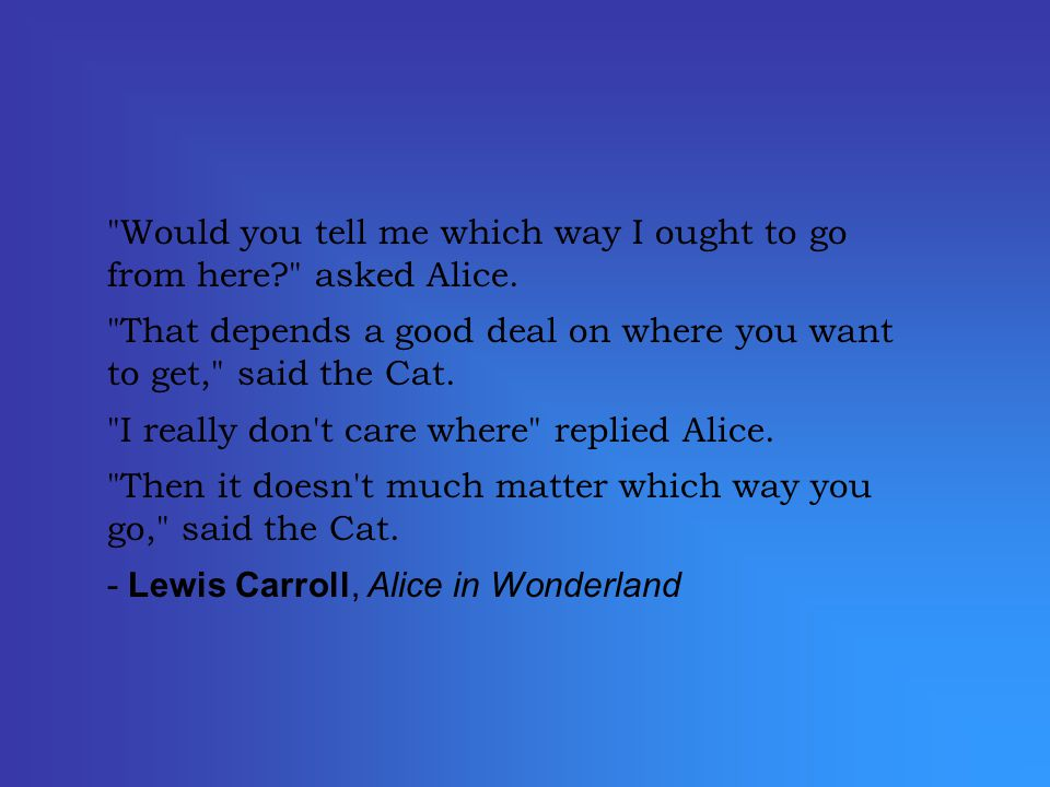Would you tell me which way I ought to go from here? asked Alice.