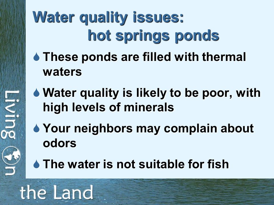 Water quality issues: hot springs ponds  These ponds are filled with thermal waters  Water quality is likely to be poor, with high levels of minerals  Your neighbors may complain about odors  The water is not suitable for fish