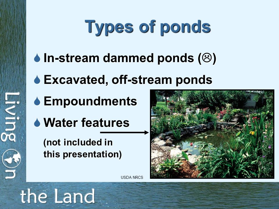 Types of ponds  In-stream dammed ponds (  )  Excavated, off-stream ponds  Empoundments  Water features (not included in (not included in this presentation) USDA NRCS