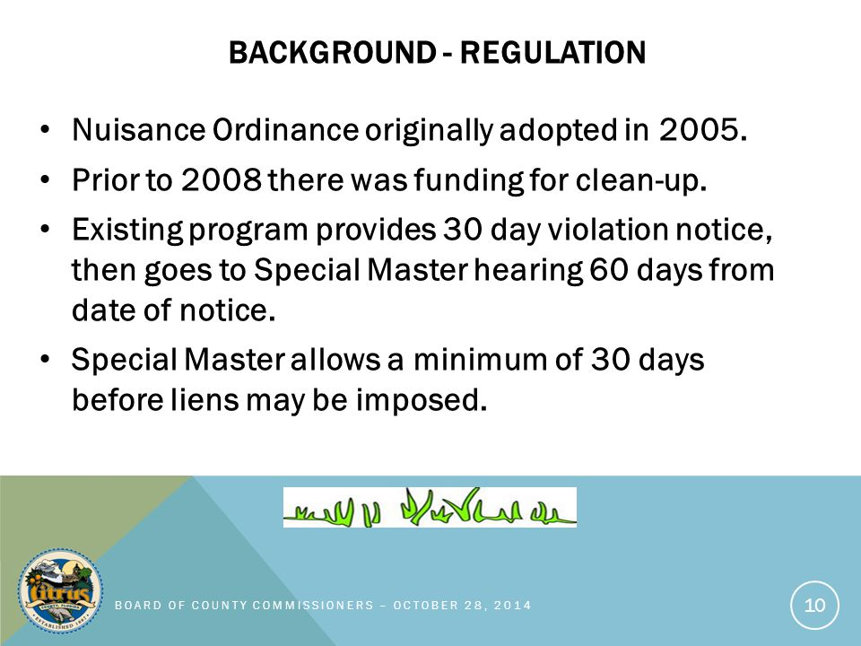 BACKGROUND - REGULATION Nuisance Ordinance originally adopted in 2005.