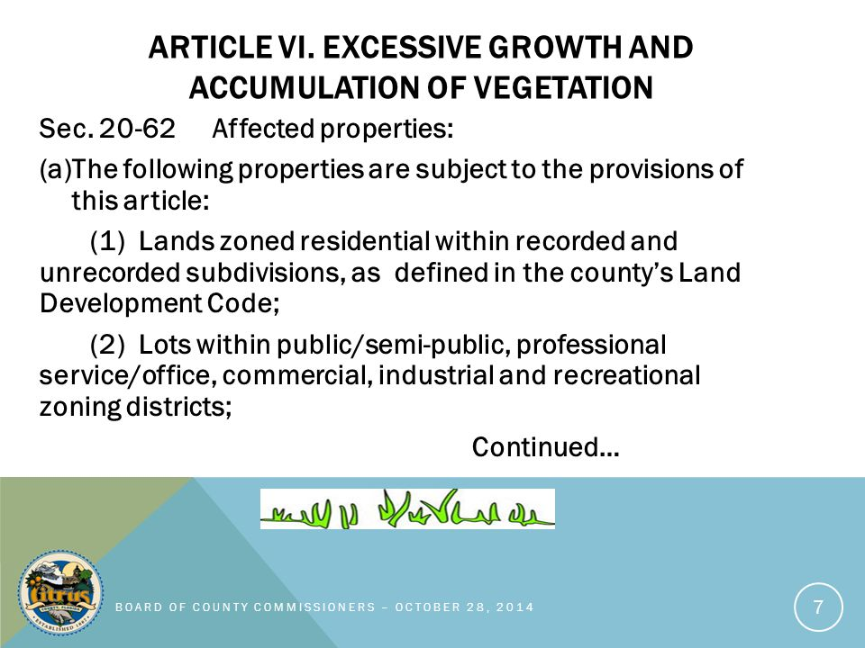ARTICLE VI. EXCESSIVE GROWTH AND ACCUMULATION OF VEGETATION Sec.