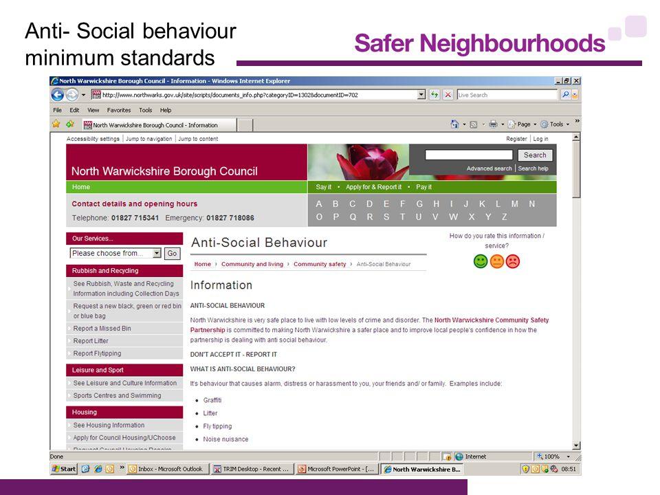 Anti- Social behaviour minimum standards