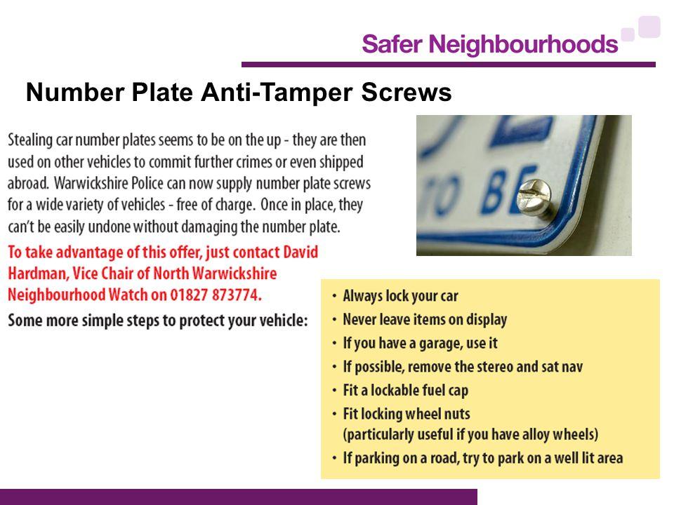 Number Plate Anti-Tamper Screws