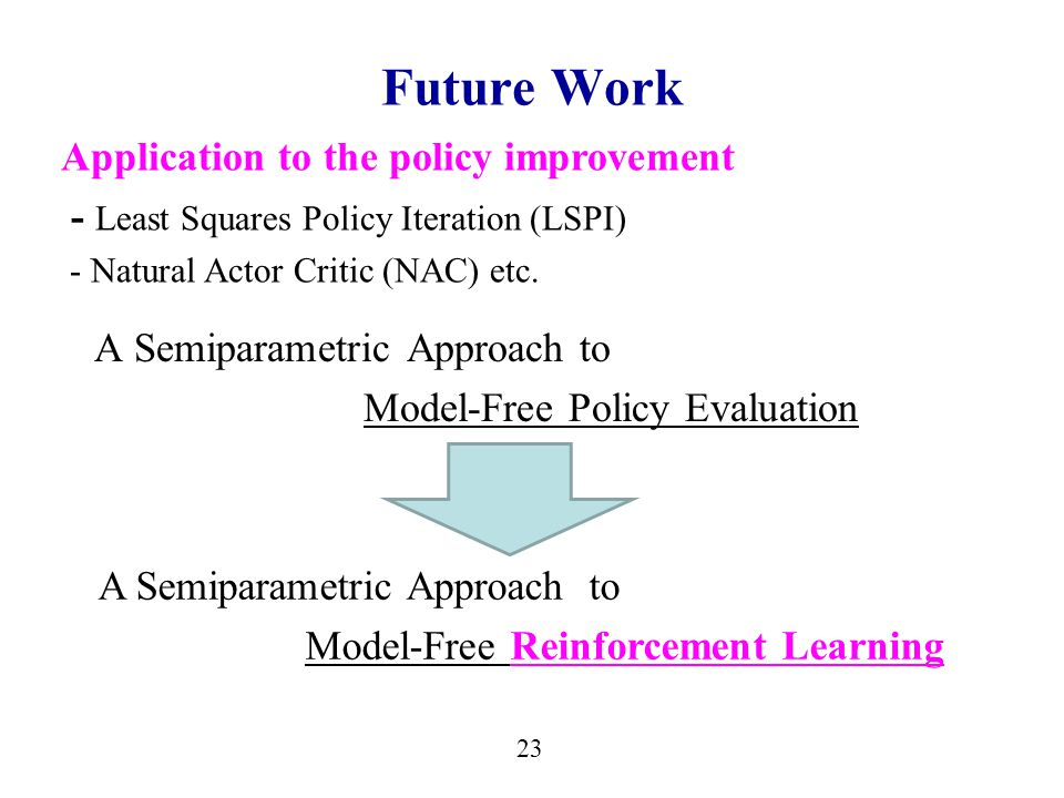 23 Future Work A Semiparametric Approach to Model-Free Policy Evaluation A Semiparametric Approach to Model-Free Reinforcement Learning Application to the policy improvement - Least Squares Policy Iteration (LSPI) - Natural Actor Critic (NAC) etc.