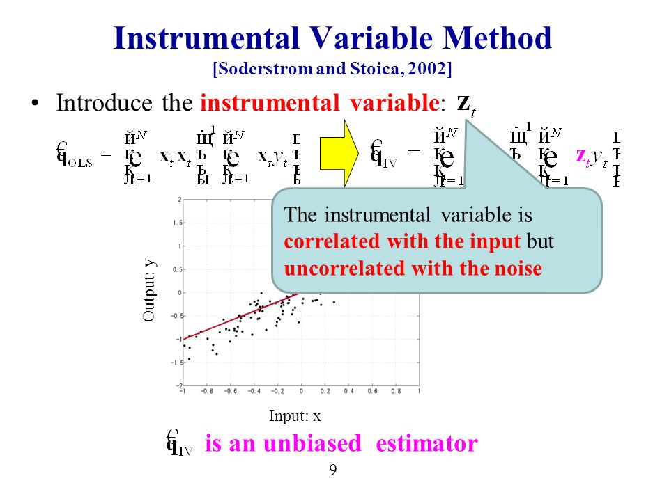 9 Instrumental Variable Method [Soderstrom and Stoica, 2002] Introduce the instrumental variable: is an unbiased estimator Input: x Output: y The instrumental variable is correlated with the input but uncorrelated with the noise