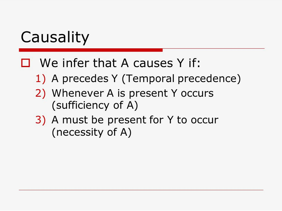 Causality  We infer that A causes Y if: 1)A precedes Y (Temporal precedence) 2)Whenever A is present Y occurs (sufficiency of A) 3)A must be present for Y to occur (necessity of A)