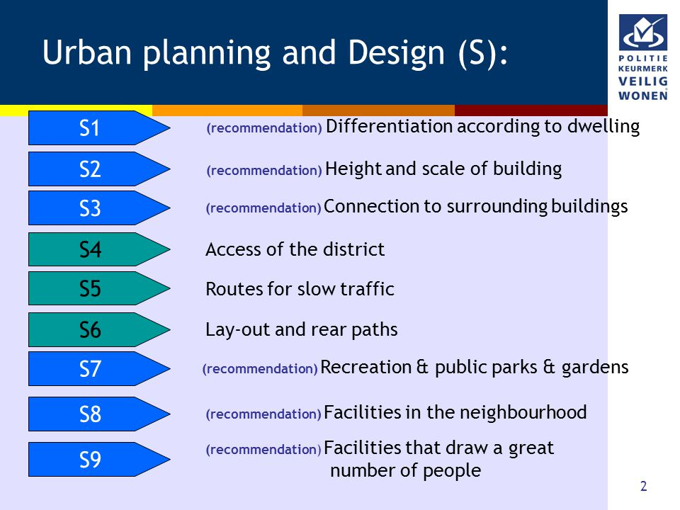2 Urban planning and Design (S): S1 S2 S3 S5 S6 S7 S8 S9 (recommendation) Facilities that draw a great number of people (recommendation) Facilities in