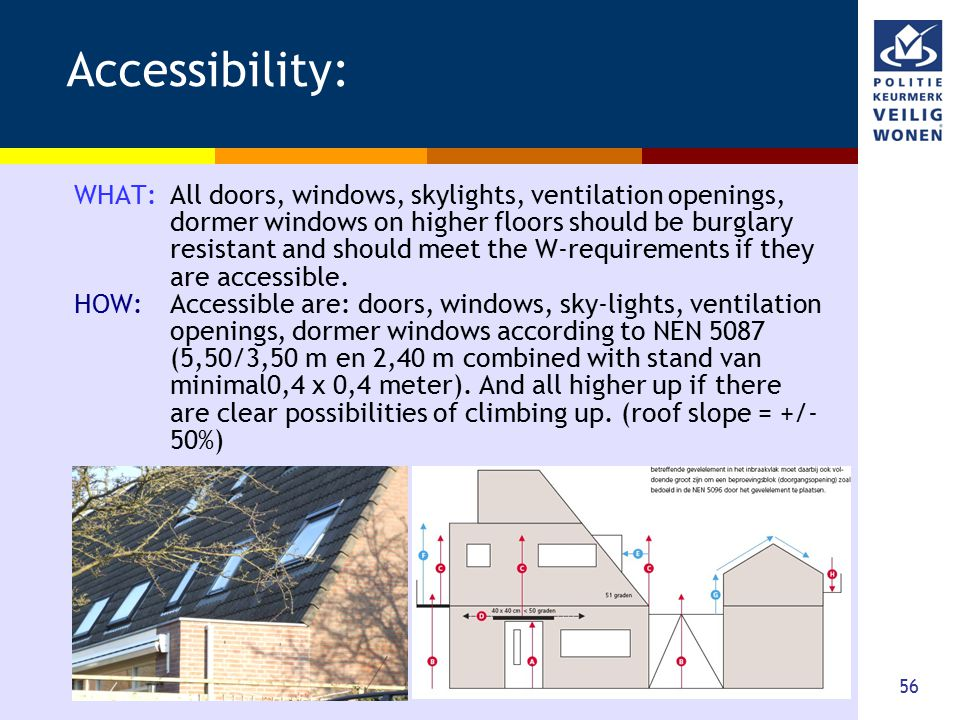 56 Accessibility: WHAT: All doors, windows, skylights, ventilation openings, dormer windows on higher floors should be burglary resistant and should m