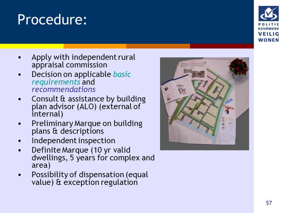 57 Procedure: Apply with independent rural appraisal commission Decision on applicable basic requirements and recommendations Consult & assistance by