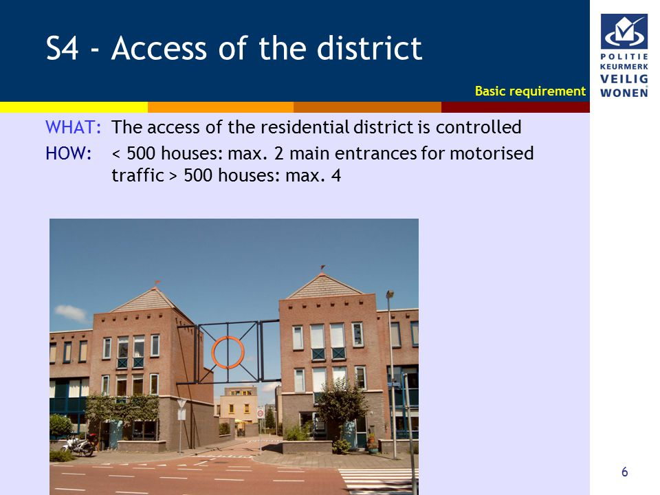 6 S4 - Access of the district WHAT: The access of the residential district is controlled HOW: 500 houses: max. 4 Basic requirement