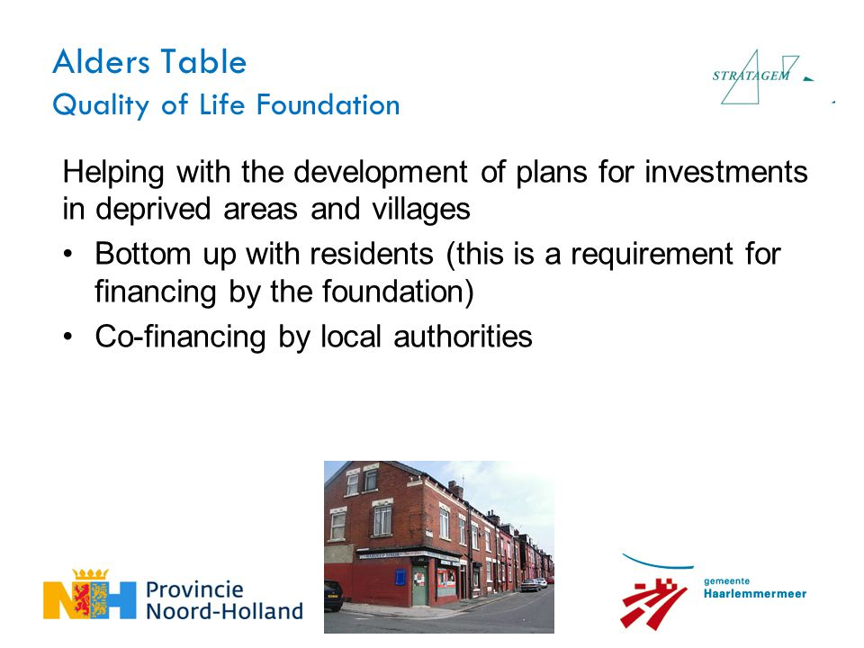 Alders Table Quality of Life Foundation Helping with the development of plans for investments in deprived areas and villages Bottom up with residents