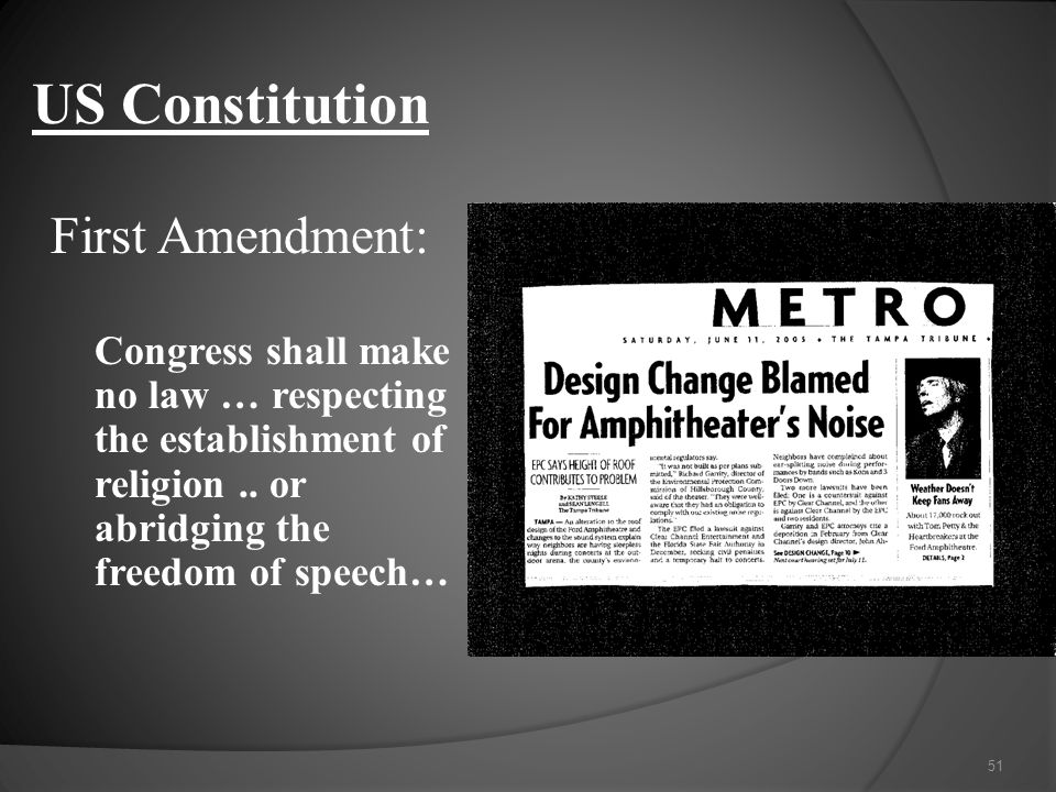 US Constitution First Amendment: Congress shall make no law … respecting the establishment of religion..