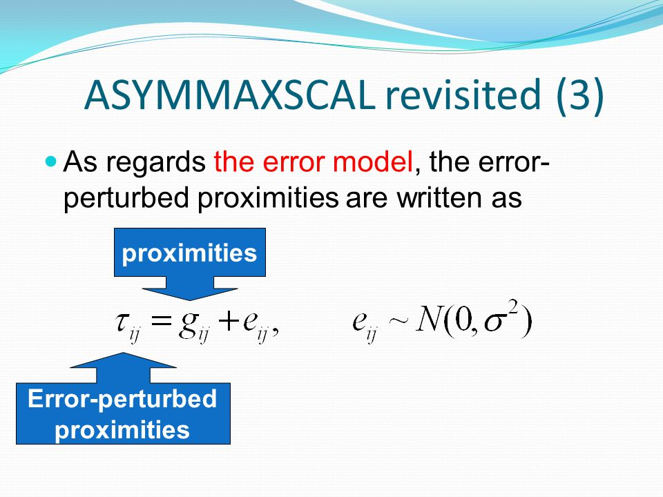 ASYMMAXSCAL revisited (3) As regards the error model, the error- perturbed proximities are written as Error-perturbed proximities
