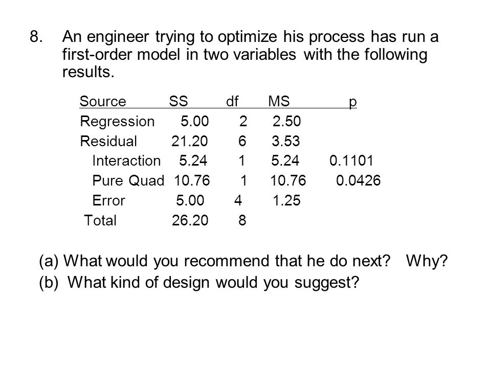 8.An engineer trying to optimize his process has run a first-order model in two variables with the following results.
