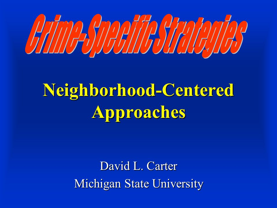 Neighborhood-Centered Approaches David L. Carter Michigan State University