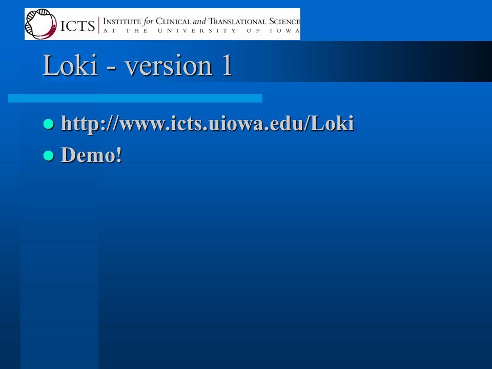 Loki - version 1 http://www.icts.uiowa.edu/Loki http://www.icts.uiowa.edu/Loki Demo! Demo!