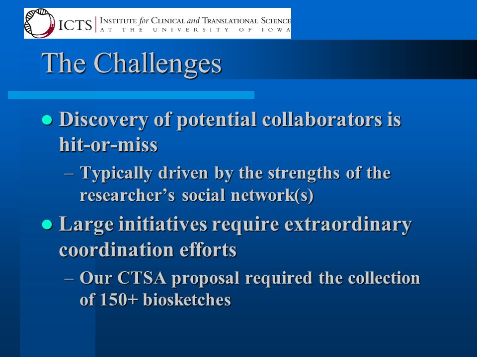 The Challenges Discovery of potential collaborators is hit-or-miss Discovery of potential collaborators is hit-or-miss –Typically driven by the strengths of the researcher's social network(s) Large initiatives require extraordinary coordination efforts Large initiatives require extraordinary coordination efforts –Our CTSA proposal required the collection of 150+ biosketches