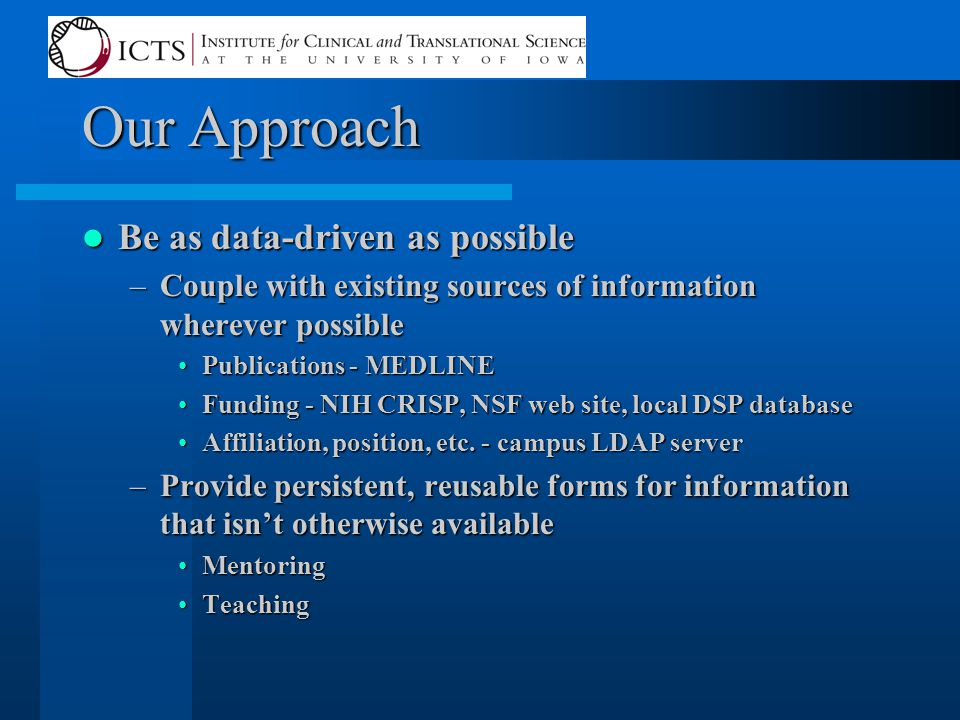 Our Approach Be as data-driven as possible Be as data-driven as possible –Couple with existing sources of information wherever possible Publications - MEDLINEPublications - MEDLINE Funding - NIH CRISP, NSF web site, local DSP databaseFunding - NIH CRISP, NSF web site, local DSP database Affiliation, position, etc.