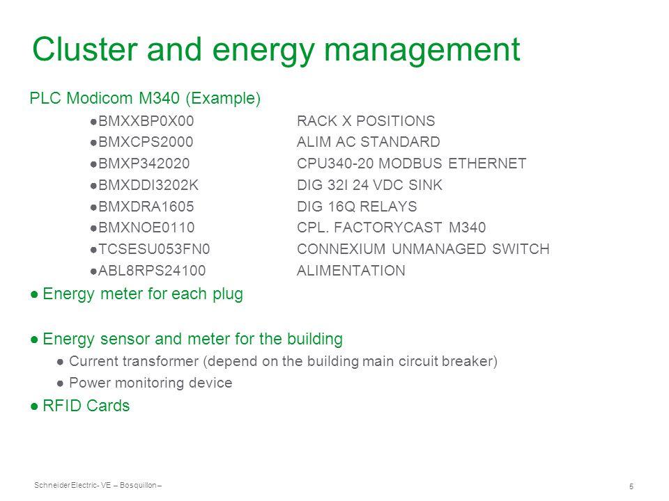 Schneider Electric 5 - VE – Bosquillon – Cluster and energy management PLC Modicom M340 (Example) ●BMXXBP0X00RACK X POSITIONS ●BMXCPS2000ALIM AC STANDARD ●BMXP342020CPU340-20 MODBUS ETHERNET ●BMXDDI3202KDIG 32I 24 VDC SINK ●BMXDRA1605DIG 16Q RELAYS ●BMXNOE0110CPL.
