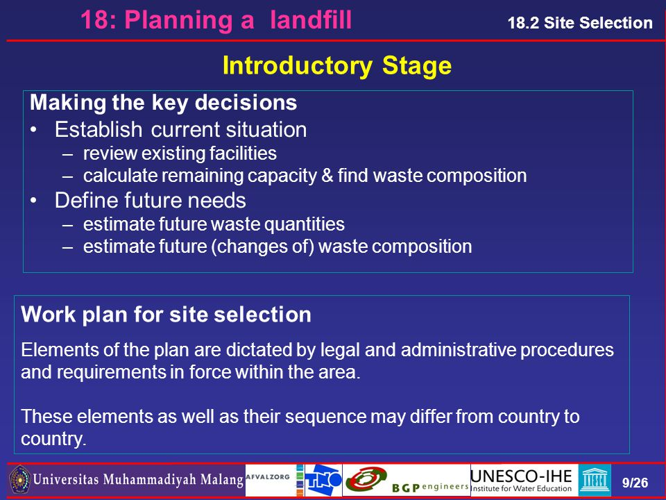 9/26 18.2 Site Selection 18: Planning a landfill Making the key decisions Establish current situation –review existing facilities –calculate remaining capacity & find waste composition Define future needs –estimate future waste quantities –estimate future (changes of) waste composition Introductory Stage Work plan for site selection Elements of the plan are dictated by legal and administrative procedures and requirements in force within the area.