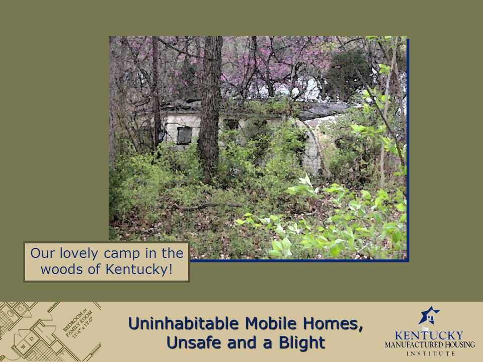 Uninhabitable Mobile Homes, Unsafe and a Blight Our lovely camp in the woods of Kentucky!