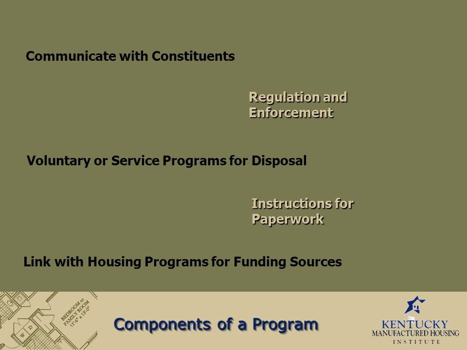 Components of a Program Communicate with Constituents Voluntary or Service Programs for Disposal Regulation and Enforcement Instructions for Paperwork Link with Housing Programs for Funding Sources