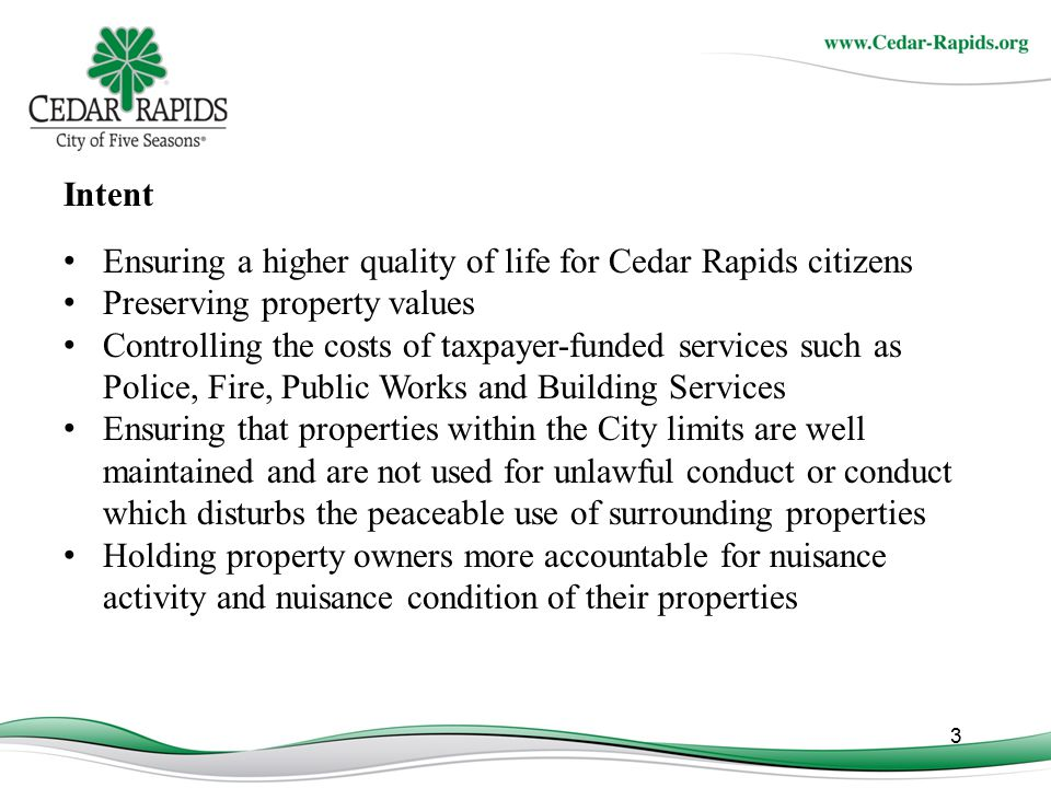 For Additional Information: Please contact: Email: a.grieder@cedar-rapids.orga.grieder@cedar-rapids.org Phone: 319-286-5720 Email: a.lorenz@cedar-rapids.orga.lorenz@cedar-rapids.org Phone: 319-286-5720 www.cityofcr.com/safecr 24