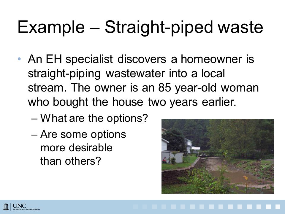 Example – Straight-piped waste An EH specialist discovers a homeowner is straight-piping wastewater into a local stream.