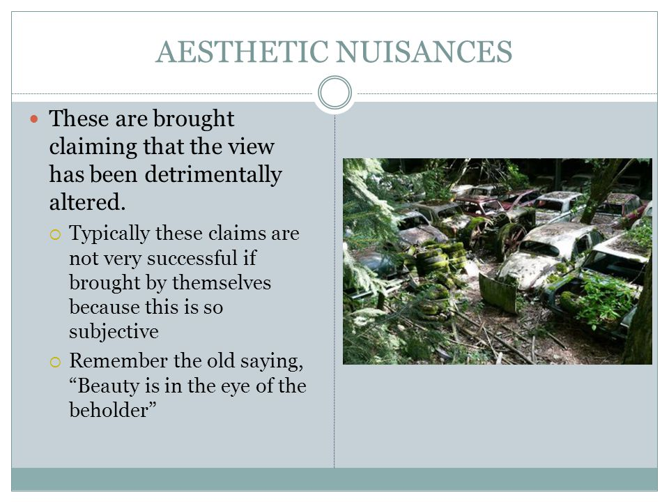 AESTHETIC NUISANCES These are brought claiming that the view has been detrimentally altered.  Typically these claims are not very successful if broug