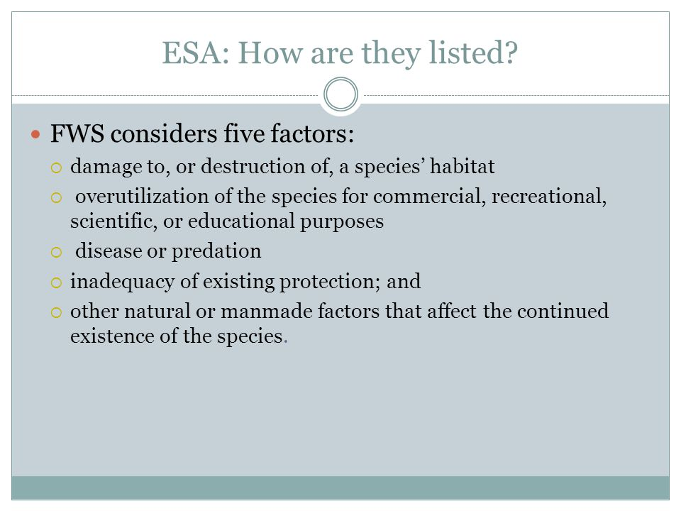 ESA: How are they listed.