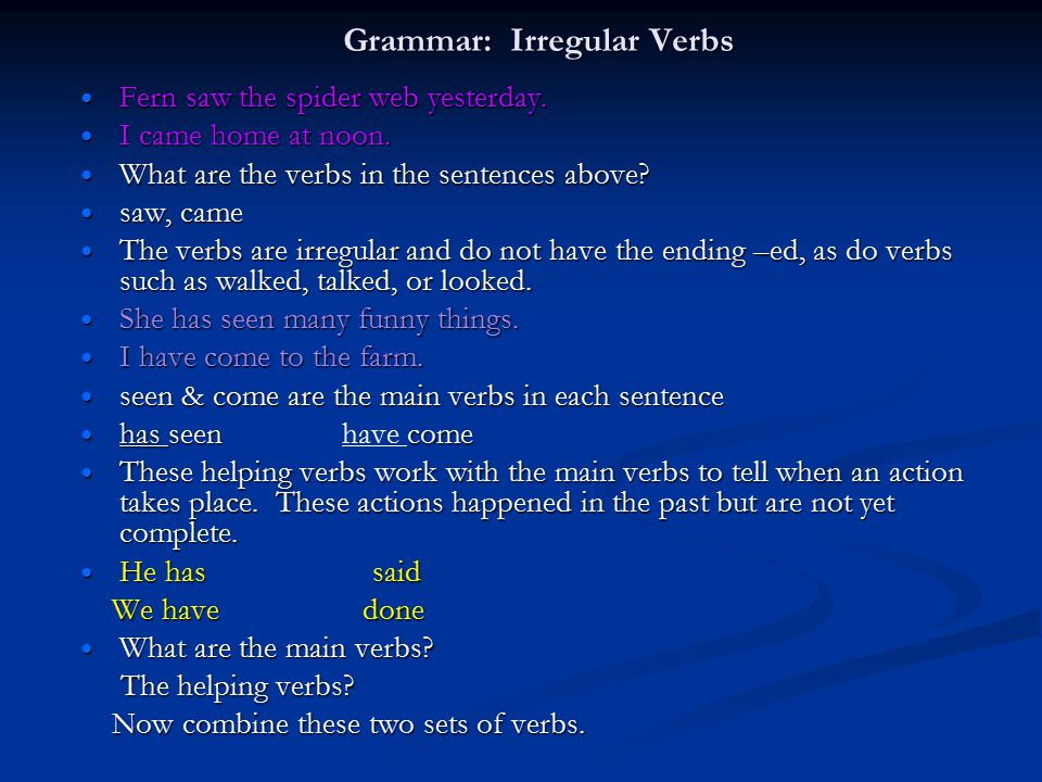 Grammar: Irregular Verbs Fern saw the spider web yesterday. Fern saw the spider web yesterday. I came home at noon. I came home at noon. What are the