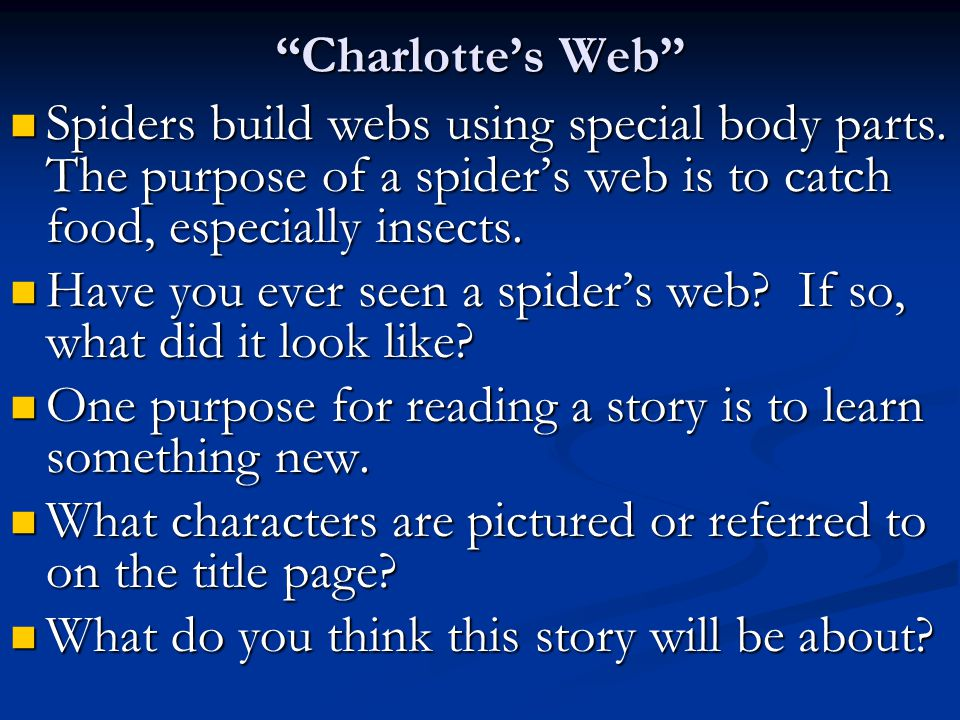 """Charlotte's Web"" Spiders build webs using special body parts. The purpose of a spider's web is to catch food, especially insects. Spiders build webs"