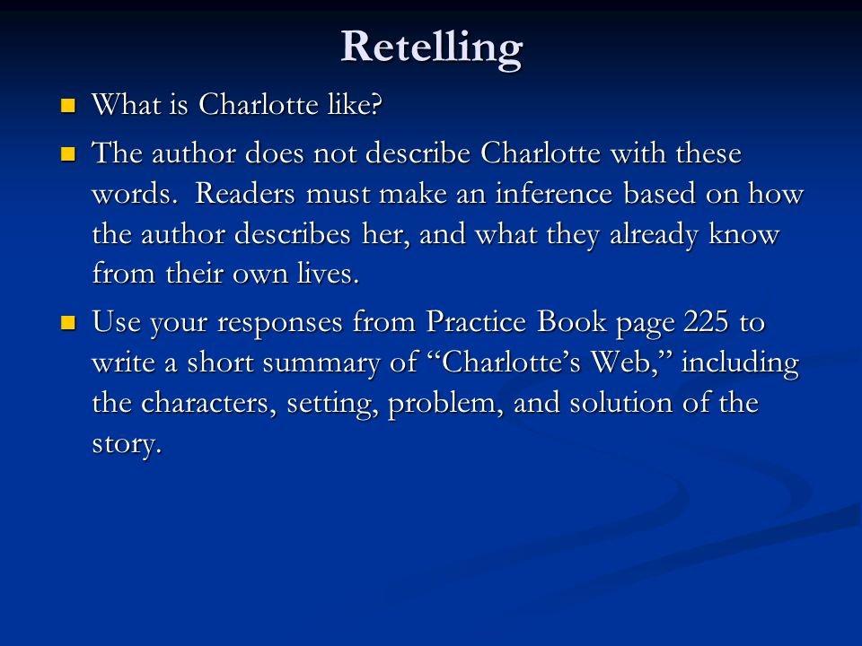 Retelling What is Charlotte like? What is Charlotte like? The author does not describe Charlotte with these words. Readers must make an inference base
