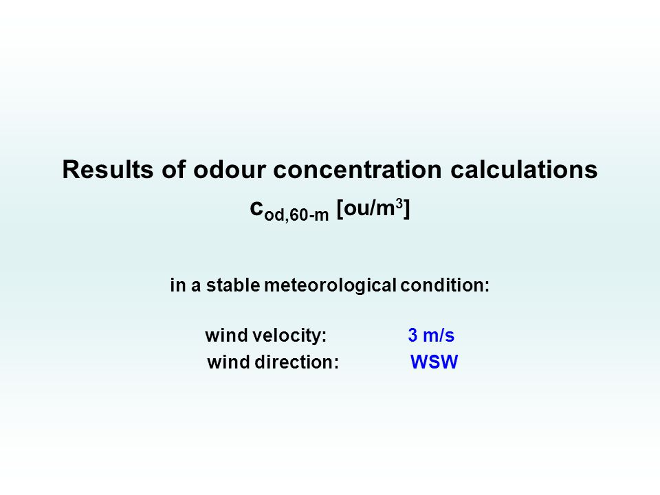 Results of odour concentration calculations c od,60-m [ou/m 3 ] in a stable meteorological condition: wind velocity: 3 m/s wind direction: WSW