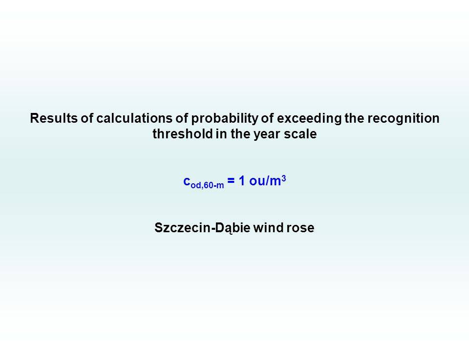 Results of calculations of probability of exceeding the recognition threshold in the year scale c od,60-m = 1 ou/m 3 Szczecin-Dąbie wind rose