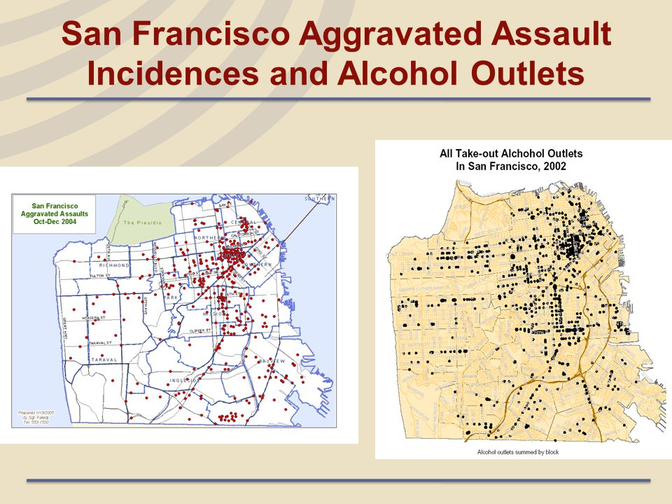 San Francisco Aggravated Assault Incidences and Alcohol Outlets