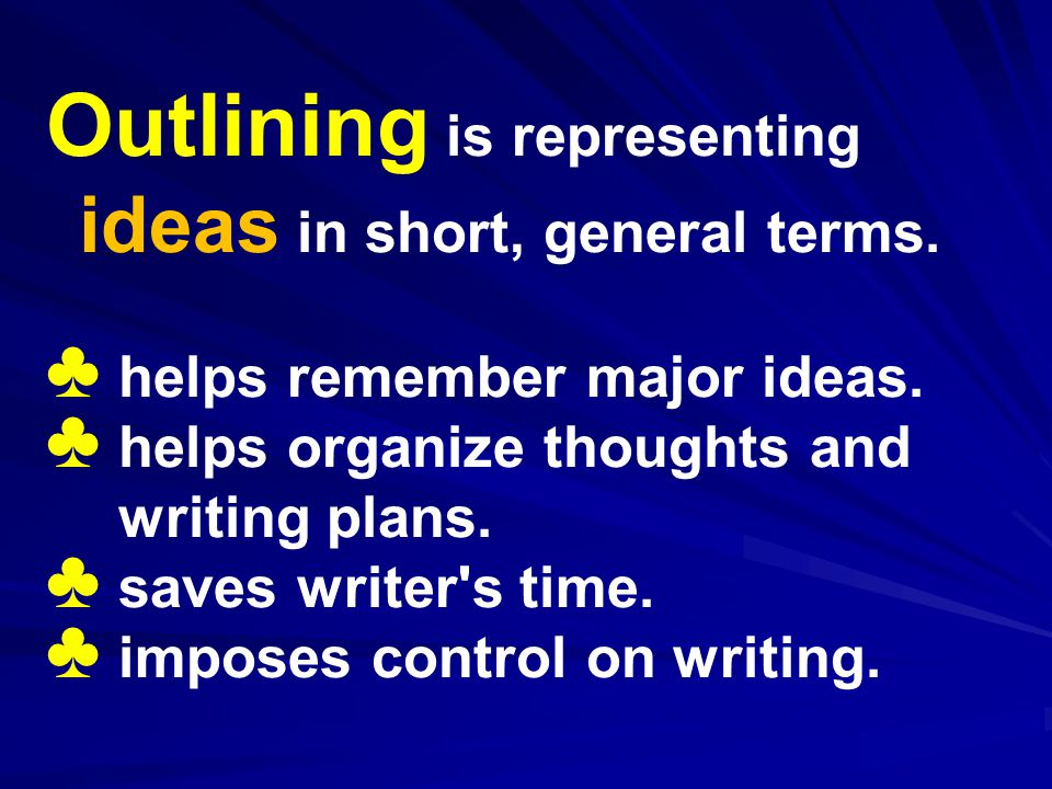 Outlining is representing ideas in short, general terms.