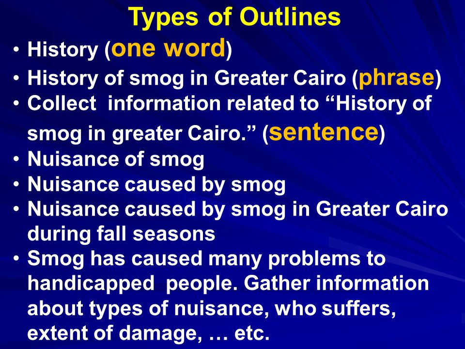 Types of Outlines History ( one word ) History of smog in Greater Cairo ( phrase ) Collect information related to History of smog in greater Cairo. ( sentence ) Nuisance of smog Nuisance caused by smog Nuisance caused by smog in Greater Cairo during fall seasons Smog has caused many problems to handicapped people.