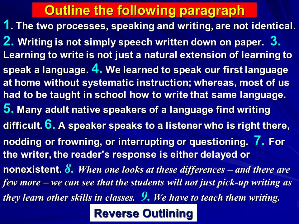Outline the following paragraph 1. The two processes, speaking and writing, are not identical.