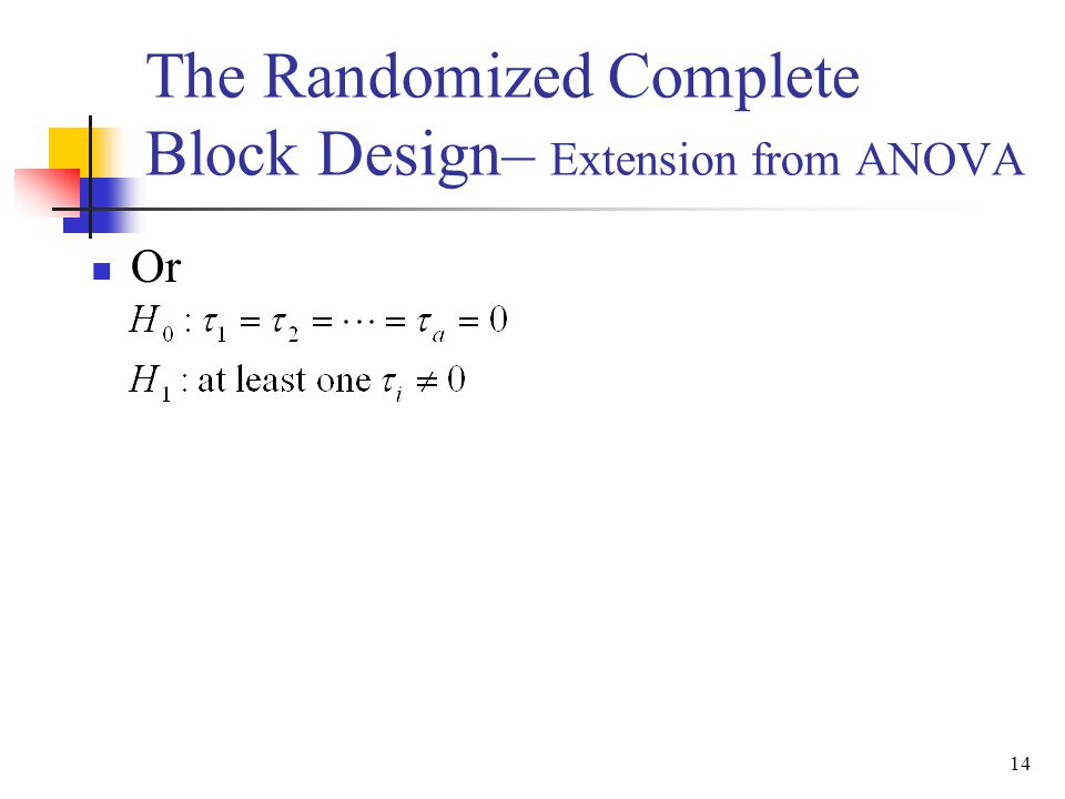 Or 14 The Randomized Complete Block Design– Extension from ANOVA