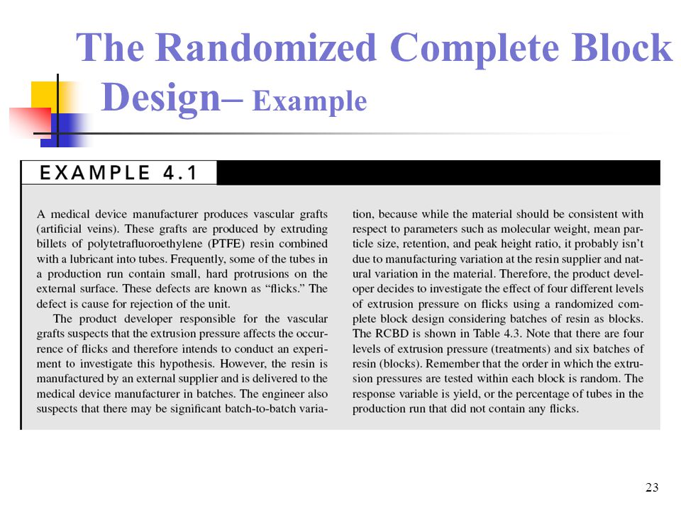 23 The Randomized Complete Block Design– Example
