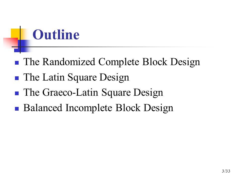 Outline The Randomized Complete Block Design The Latin Square Design The Graeco-Latin Square Design Balanced Incomplete Block Design 3/33