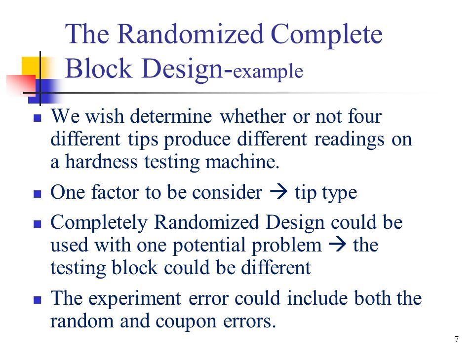 28 The Randomized Complete Block Design– Example—Minitab Vascular-Graft.MTW