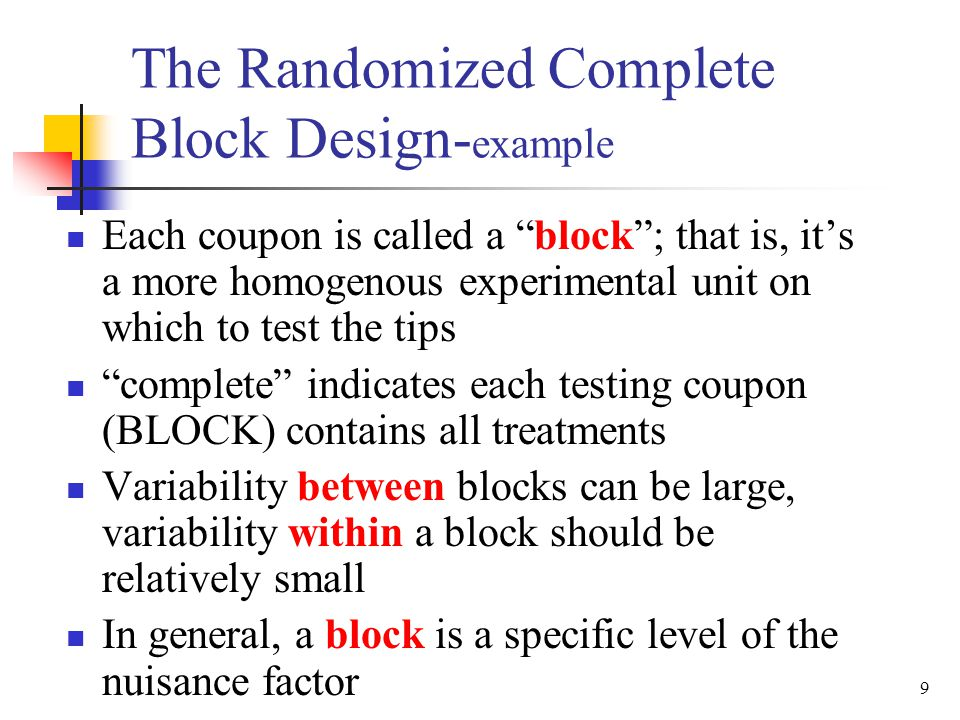 20 Manual computing: The Randomized Complete Block Design– Extension from ANOVA