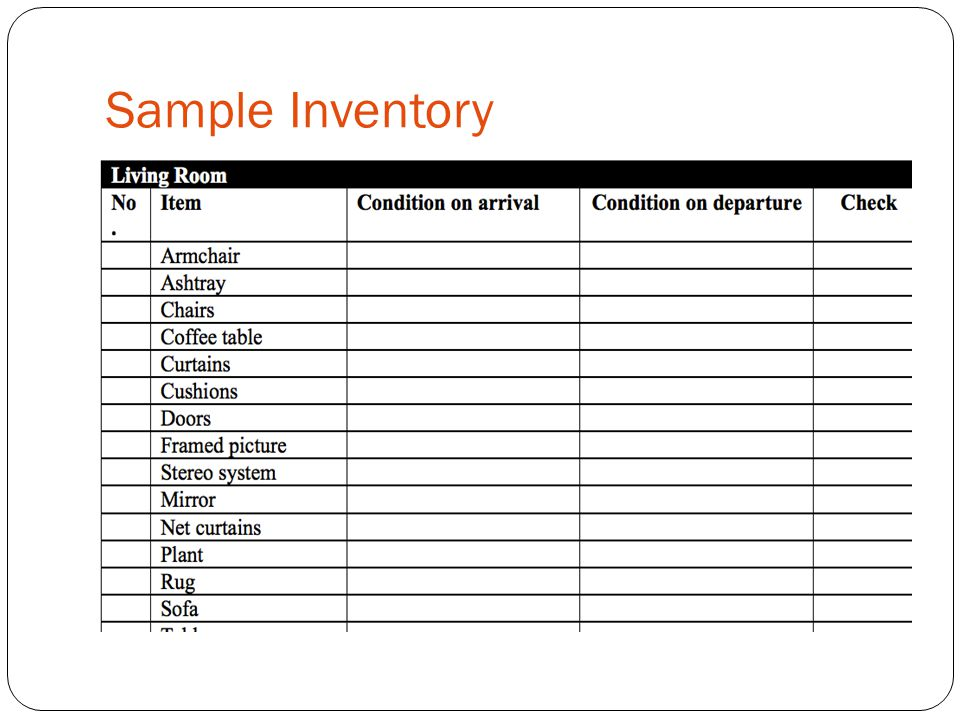 Sample Inventory