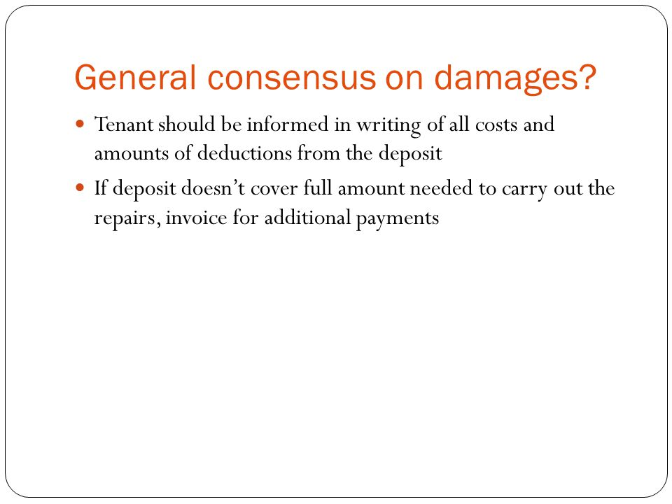 General consensus on damages.
