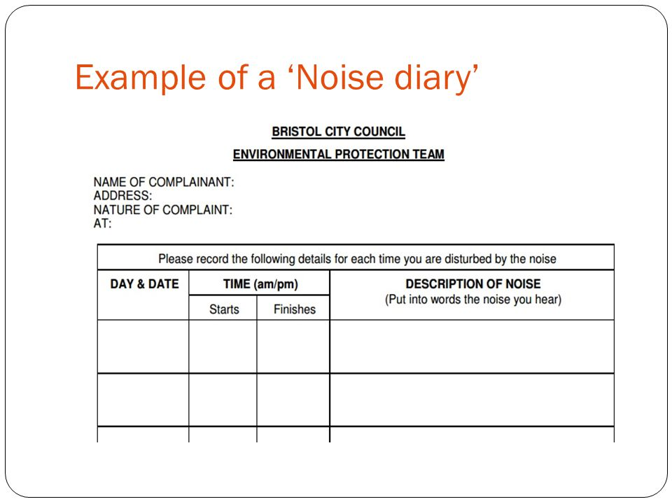 Example of a 'Noise diary'